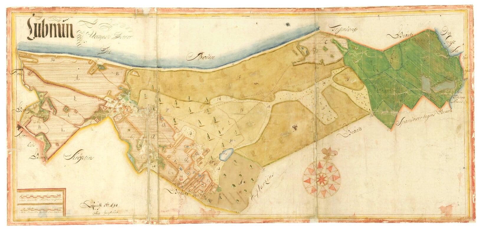 Karte Seebad Lubmin, Lubmin Amt/Distrikt Wolgast, 1694, Maßstab 1:8333